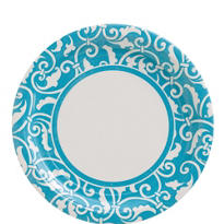Caribbean Blue Ornamental Scroll Lunch Plates 8ct