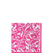 Bright Pink Ornamental Scroll Beverage Napkins 16ct