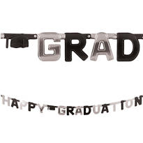 Black & Gold Happy Graduation Letter Banner 8ft