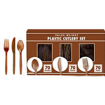 Chocolate Brown Cutlery Set 210pc