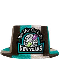 Pop My Cork Glitter New Years Top Hat 5in