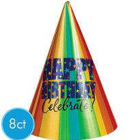 A Year to Celebrate Happy Birthday Party Hat 8ct