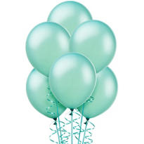 Aqua Pearlized Latex Balloons 12in 10ct