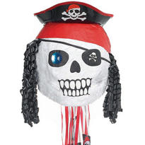 Pull String Pirate Skull Pinata 18in