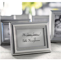 Beautifully Beaded Silver Photo Frame & Place Card Holder