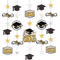 Glitter Black & Gold Hanging Graduation Decorations 5ct