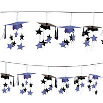 Purple 3D Grad Cap Graduation Garland 12ft