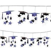 Purple 3D Grad Cap Graduation Garland 12ft