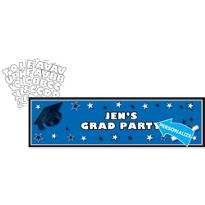 Royal Blue Personalized Graduation Banner 65in