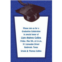 Royal Blue Congrats Grad Custom Graduation Invitation