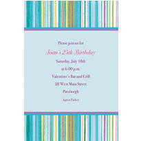 Blue Watercolor Stripe Custom Invitation