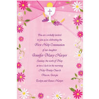 Custom Pink First Communion Invitation