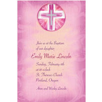 Custom Joyous Cross Pink Invitations