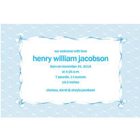 Blue Lace and Bows Custom Birth Announcements