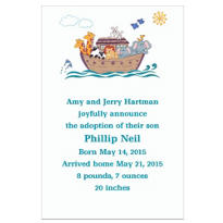 Fanciful Noah's Ark Birth Announcements