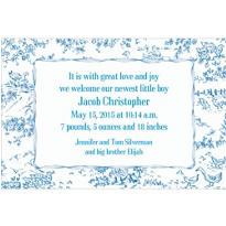 Blue Baby Toile Custom Birth Announcements