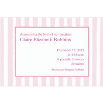 Pink Stripes Custom Birth Announcements