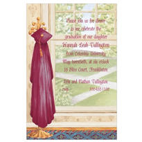 Red Graduate's Gown on Hook Custom Graduation Invitation