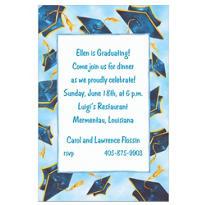 Blue Flying Mortarboards Custom Graduation Invitation