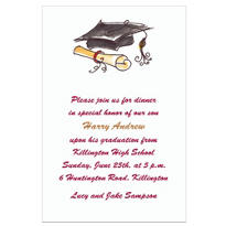 Fun Cap & Diploma Black Custom Invitation