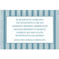 Silver Lining Greek Key Stripe Custom Invitation