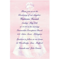 White Gown on Pink Custom Invitation