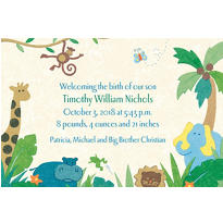 Cute Jungle Animals Custom Birth Announcements