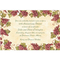 Vintage Grapes Border Custom Invitation