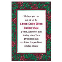 Mistletoe with Red Bows Custom Christmas Invitation