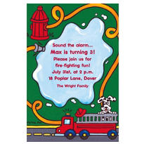 Firetruck & Hydrant Custom Invitation