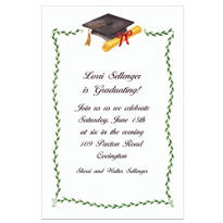Black Mortarboard & Ivy Custom Graduation Invitation