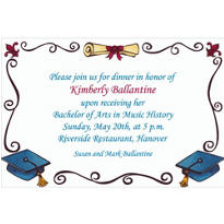 Custom Scholarly Grad Border Invitations