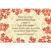 Taupe & Orange Bouquet Custom Invitation