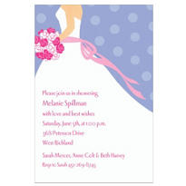 Bride on Blue Background Custom Bridal Shower Invitation