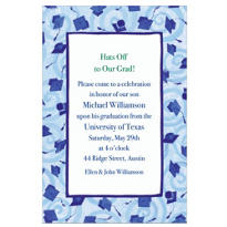 Blue Grad Caps & Swirls Custom Graduation Invitation