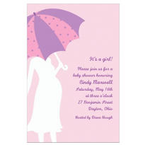 Mommy with Umbrella Pink Custom Baby Shower Invitation
