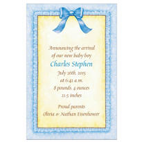 Blue Baby Frills Custom Birth Announcements