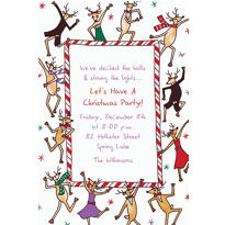 Dancing Reindeer Custom Christmas Invitation