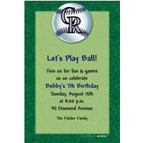Colorado Rockies Custom Invitation