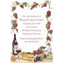 Wine, Cheese & Grape Vines Custom Invitation