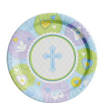 Blue Sweet Religious Dessert Plates 8ct