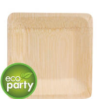 Biodegradable Square Bamboo Plates 7in 4ct