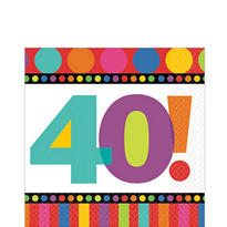Dots & Stripes 40th Birthday Lunch Napkins 16ct