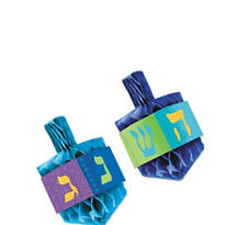 Hanukkah Honeycomb Dreidel Centerpiece Set 6in 2pc