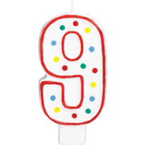 Giant Red Outline Glitter Polka Dot Number 9 Candle