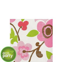 Linen Flower Beverage Napkins 16ct