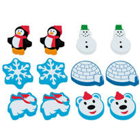 Winter Fun Erasers 12ct