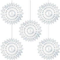 Snowflake Fan Hanging Decorations 6in 5ct