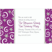 Stars and Swirls Purple Custom Invitation