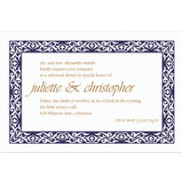 Embellished Borders Navy Custom Invitation